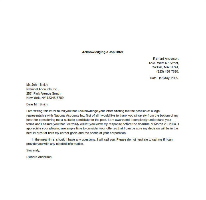 Acknowledgement Letter for Job Offer Template