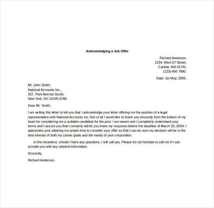 Acknowledgement Letter for Job Offer