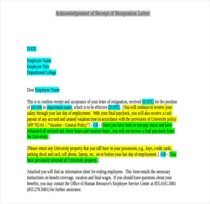 Acknowledgement of Receipt of Resignation Letter Template