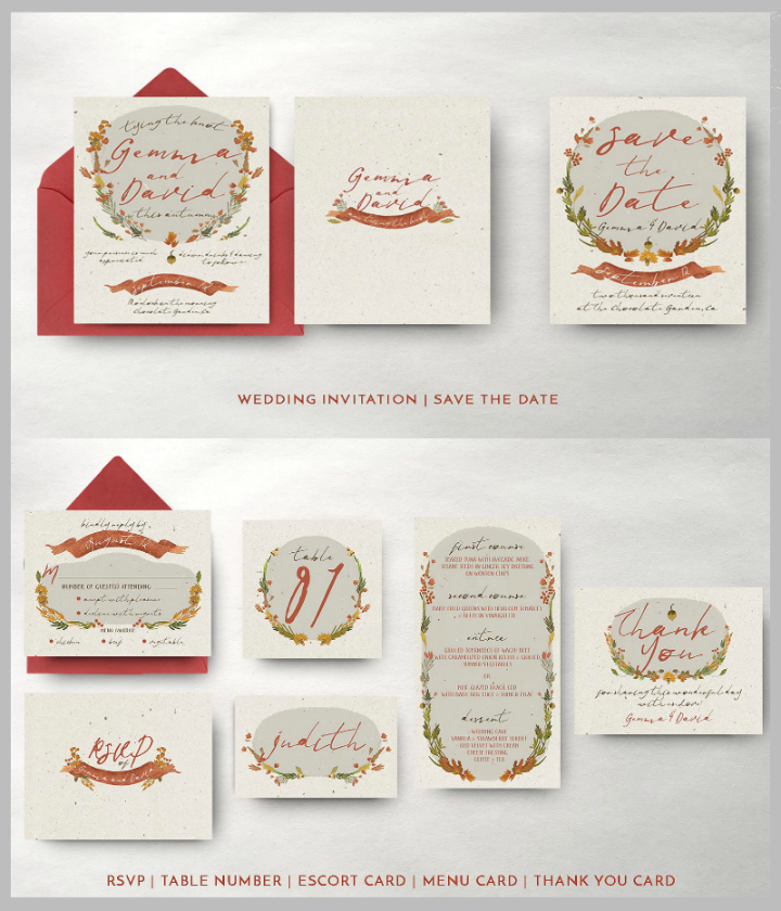 autumn floral wedding template package