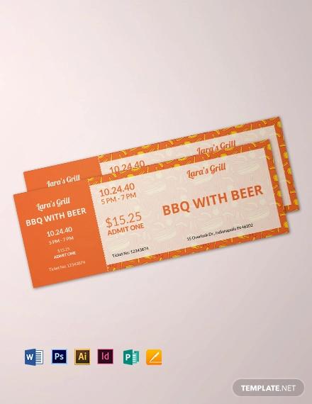 bbq food ticket template