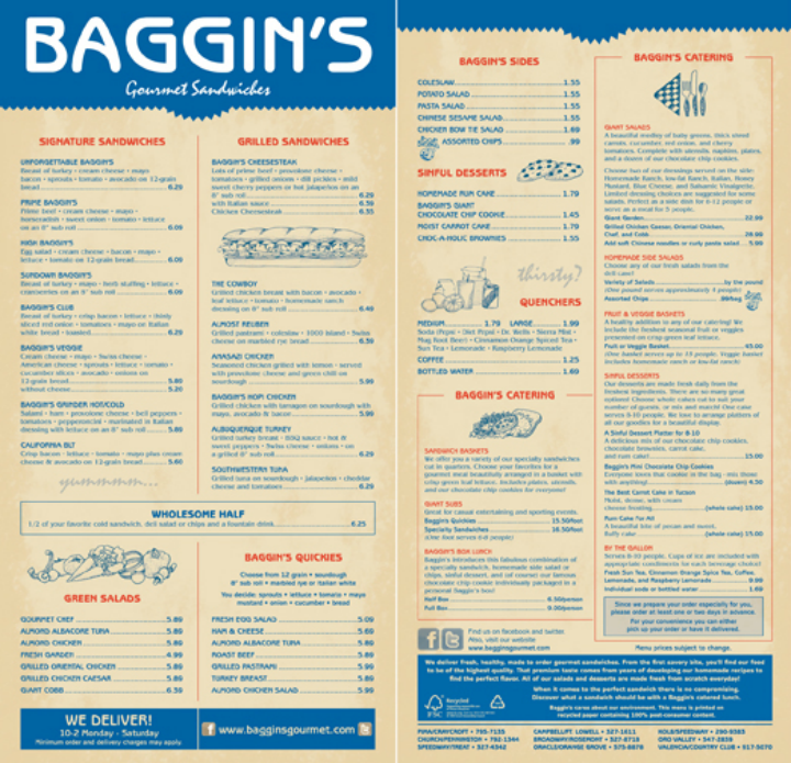baggins sandwich menu design