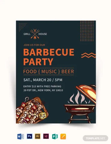 barbecue grill restaurant flyer template