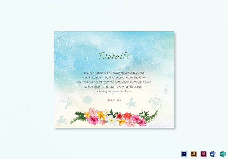 Beach Wedding Details Card