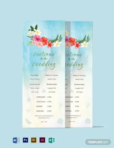 beach wedding program card template