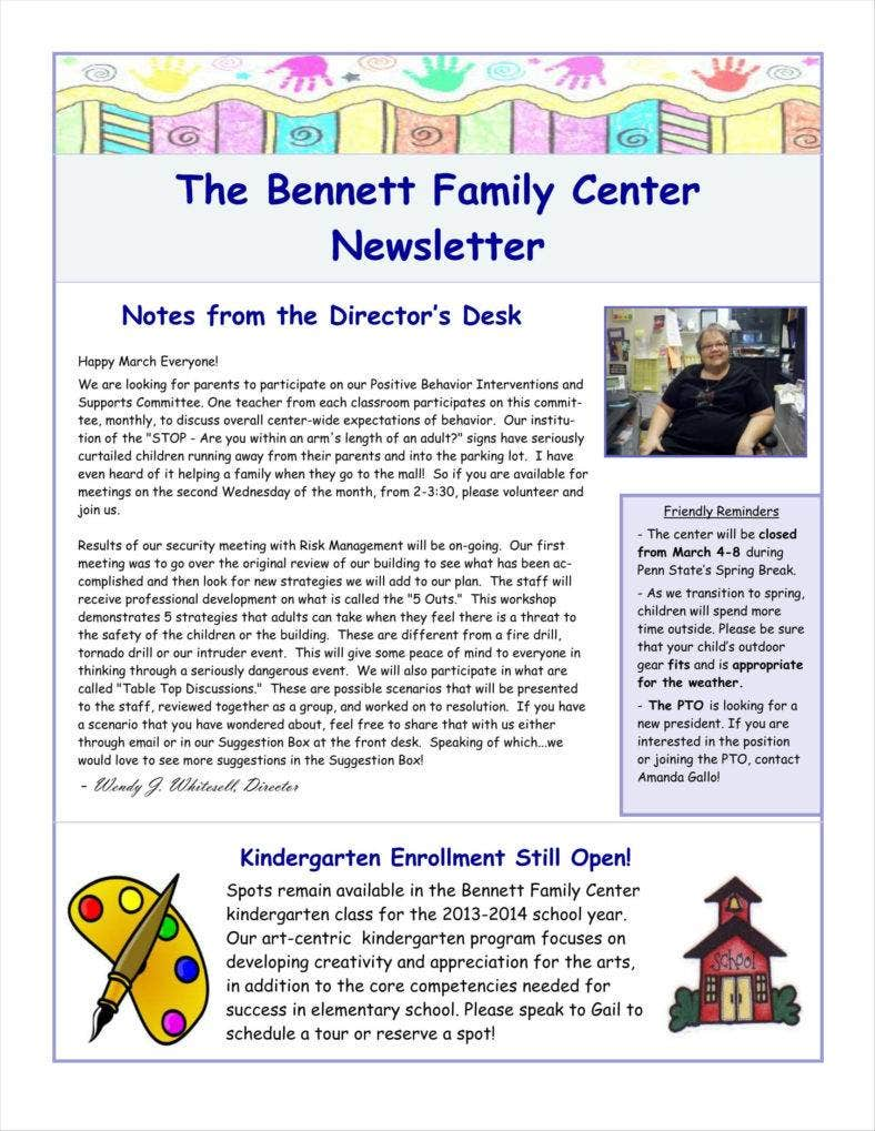 9 basic newsletter templates free word pdf format for Childcare newsletter templates
