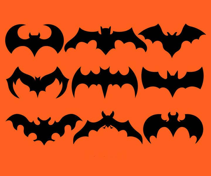 Black Bat Silhouettes Vector Set