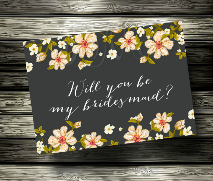 black-floral-bridesmaid-invitation-template