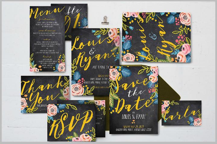 black-floral-wedding-template-package