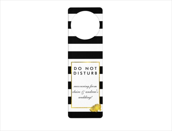Black Stripe Wedding Door Hanger