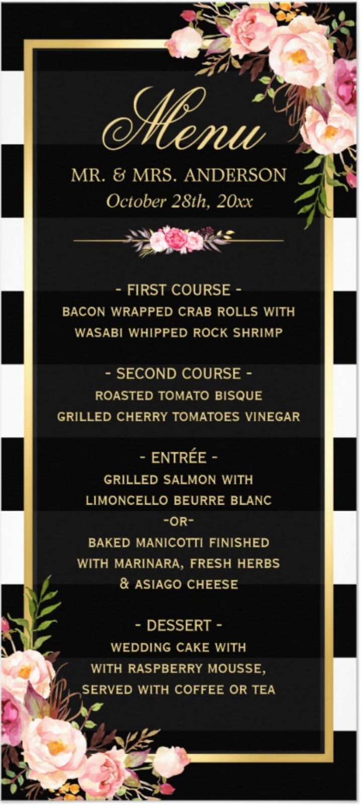 black and white floral menu design