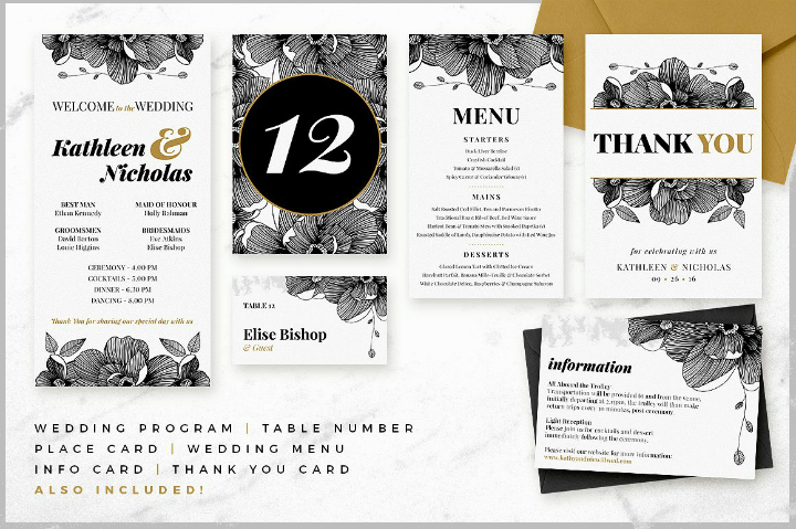 black and white midnight blossom wedding template suite