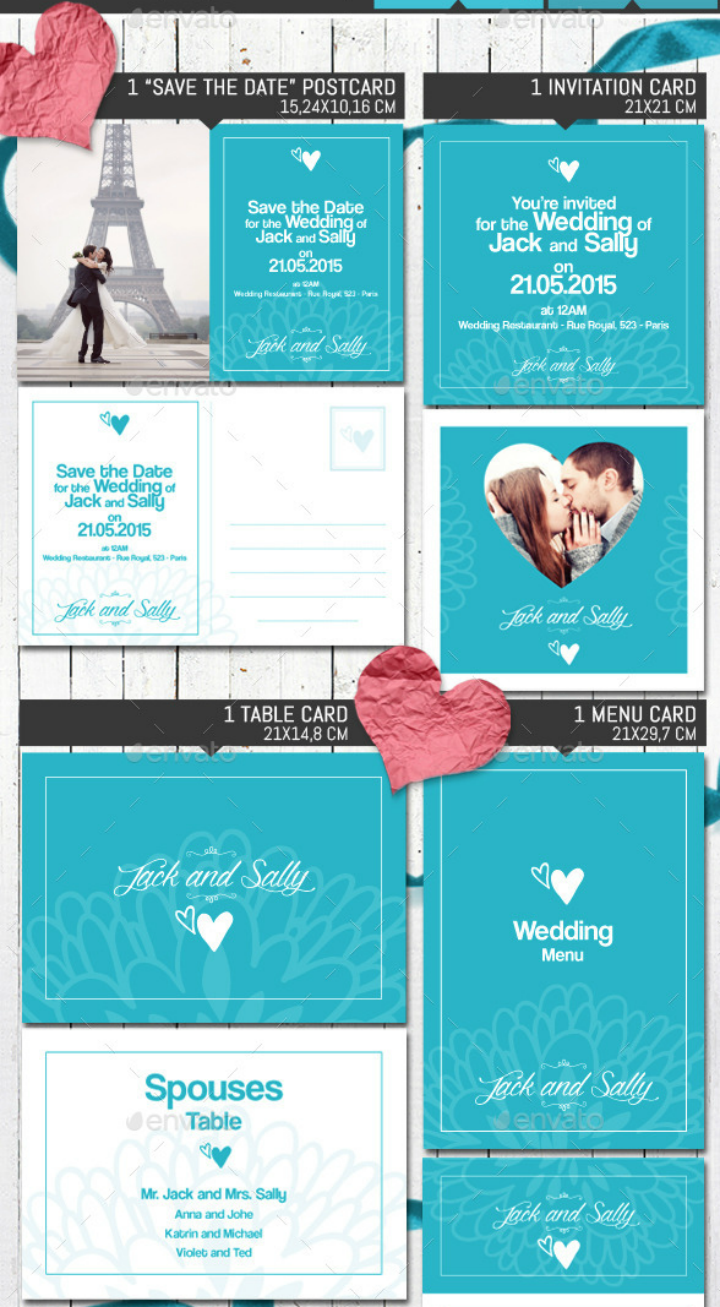 blue vintage wedding invitation pack template