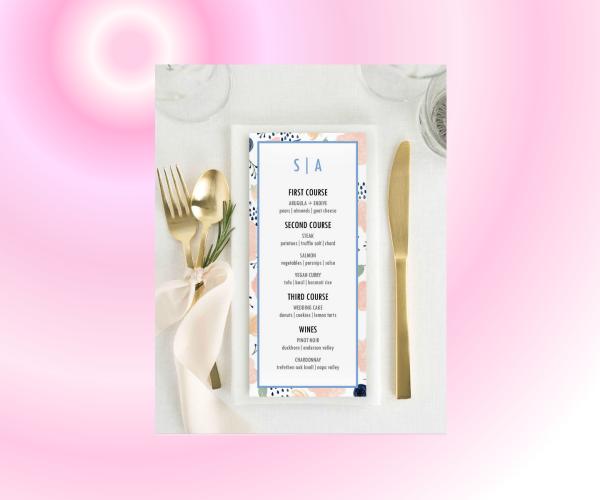 blushing bride wedding dinner menu featured img too