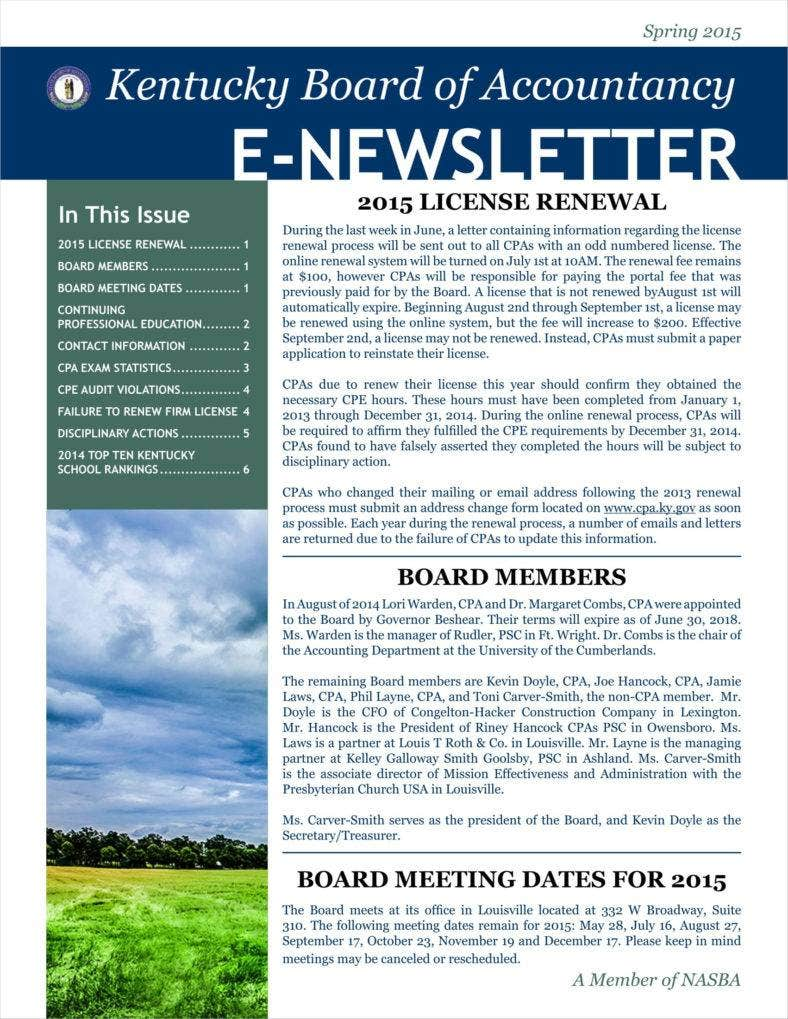 9 basic newsletter templates free word pdf format for Newsletter layout templates free download