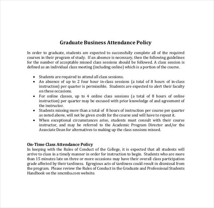 Business Attendance Policy Template