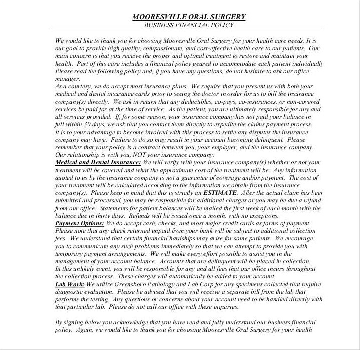 business financial policy template
