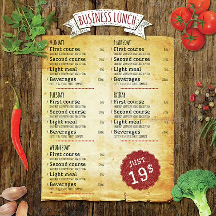 business lunch menu template