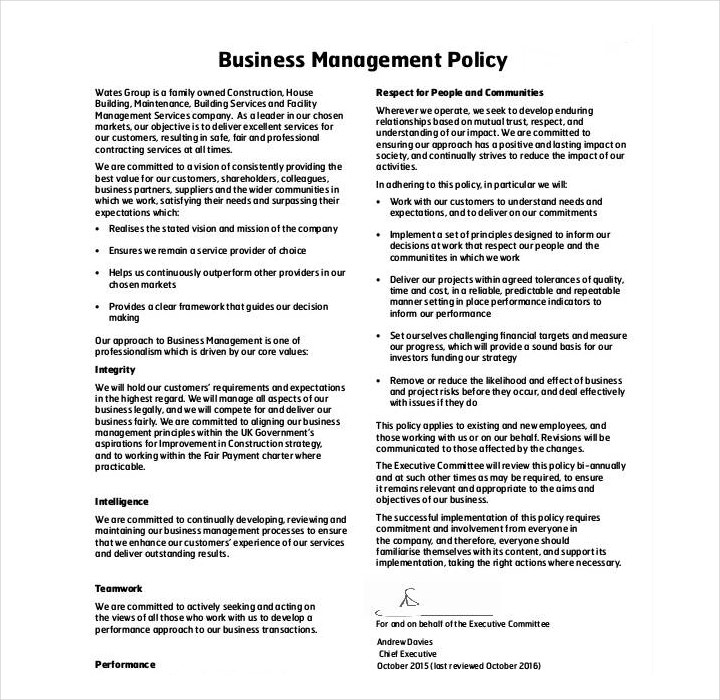 business management policy template