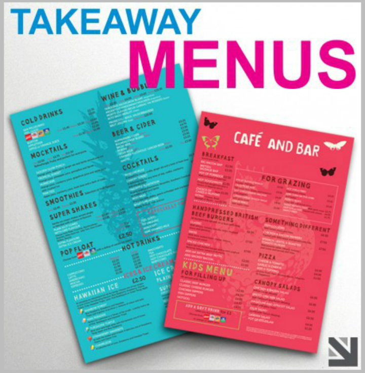 cafe and bar takeaway menu design
