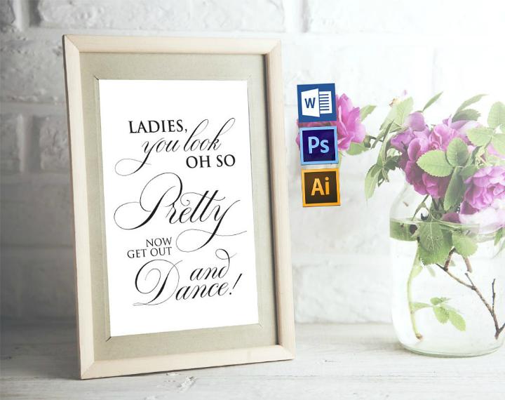 calligraphy wedding bathroom sign template