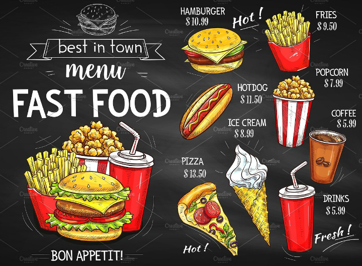 chalkboard fast food takeaway menu design