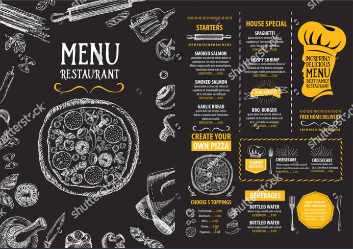 Chalkboard Pizza Menu