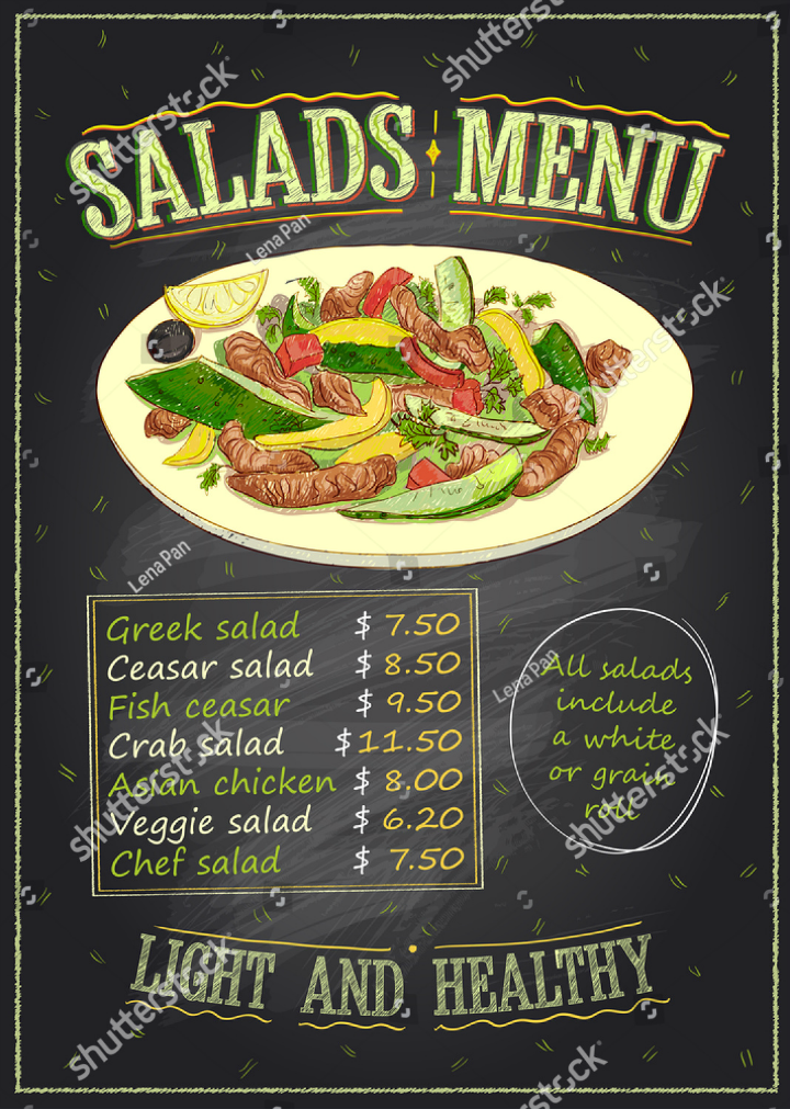 Chalkboard Salad Bar List Menu Template