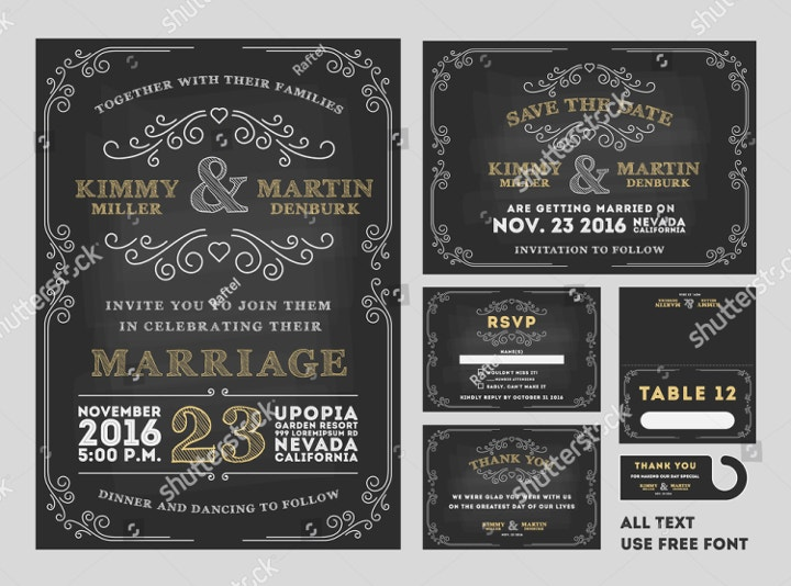 Chalkboard Wedding Place Card Template