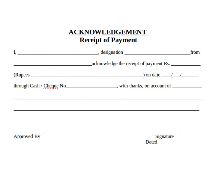 Cheque Payment Acknowledgement letter