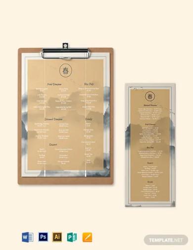 chinese restaurant menu template
