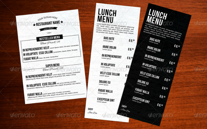 classic lunch menu template