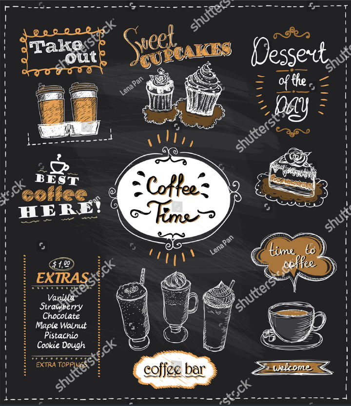 coffee time chalkboard takeaway menu design