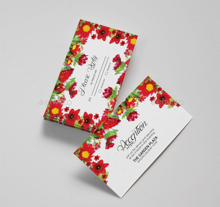 Colorful Wedding Postcard Design