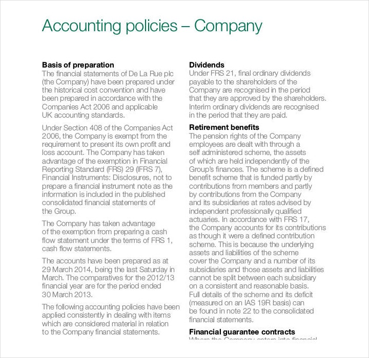 Company Accounting Policy Template