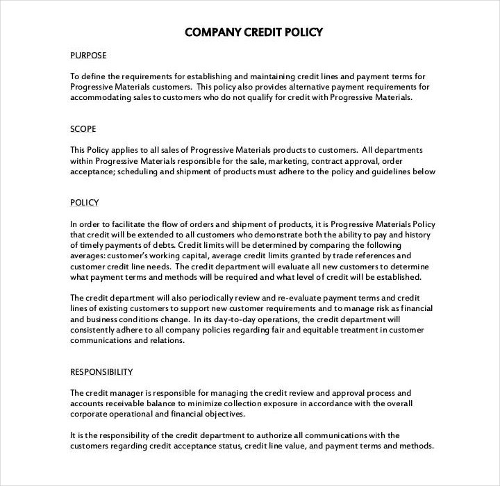 Company Credit Policy Template
