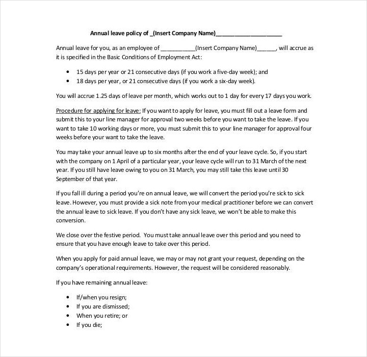 company leave policy template