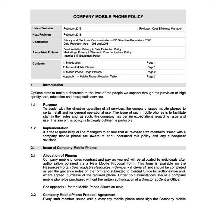 Company Phone Policy Template