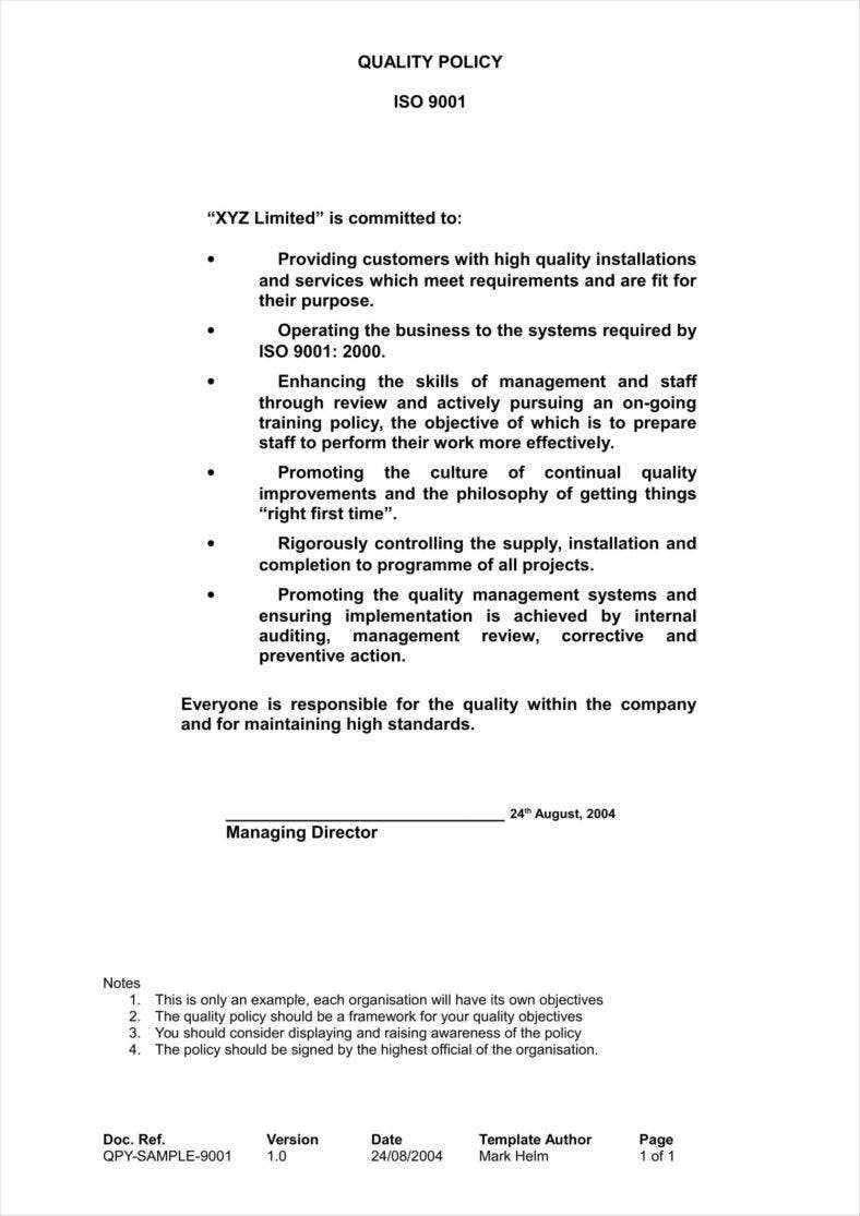 company quality policy template 11 788x1115