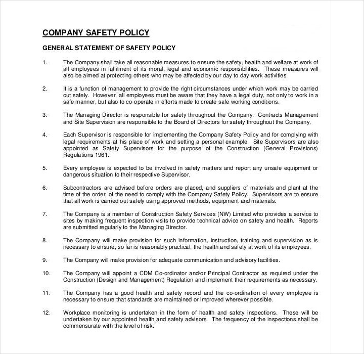 safety policy template