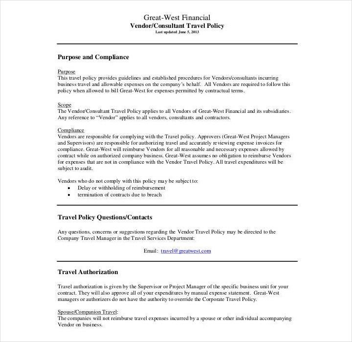 19 policy templates in word and pdf free premium templates company travel policy template maxwellsz