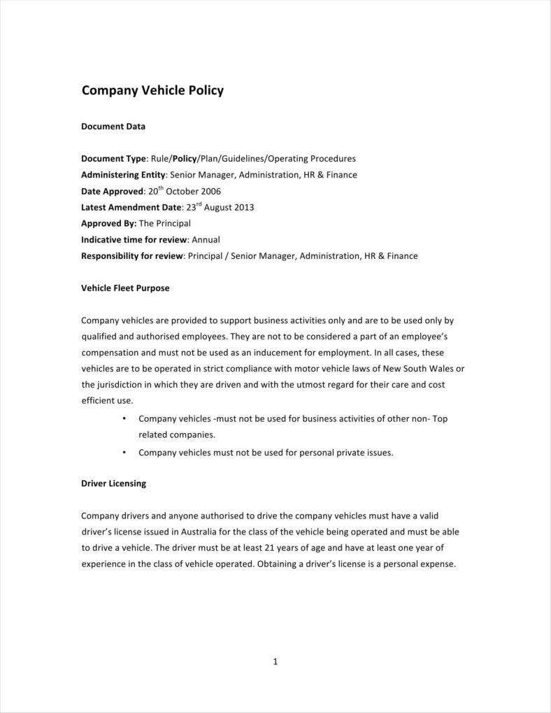 company vehicle policy and procedures sample
