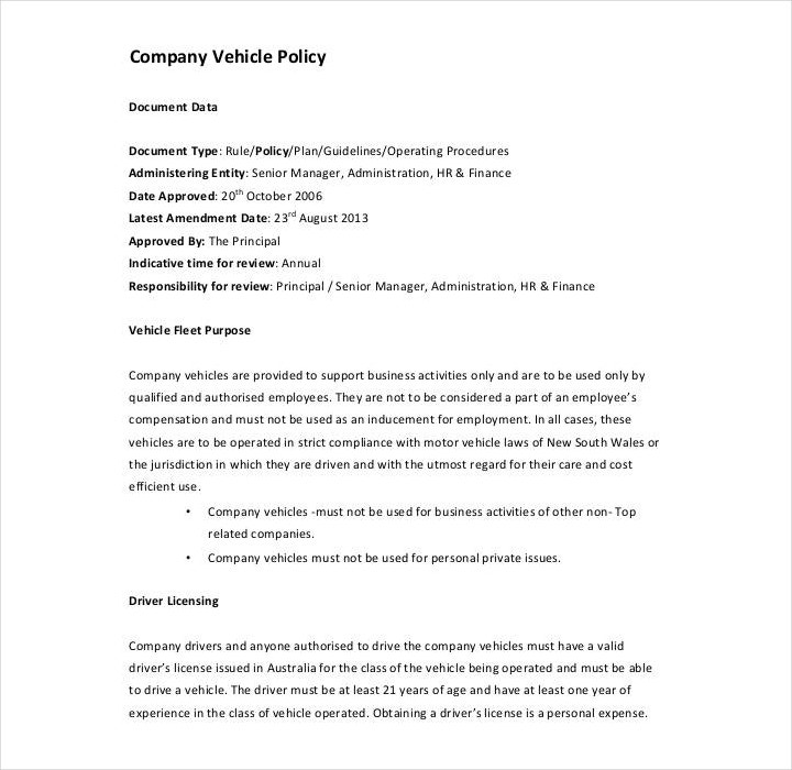 company vehicle policy template1