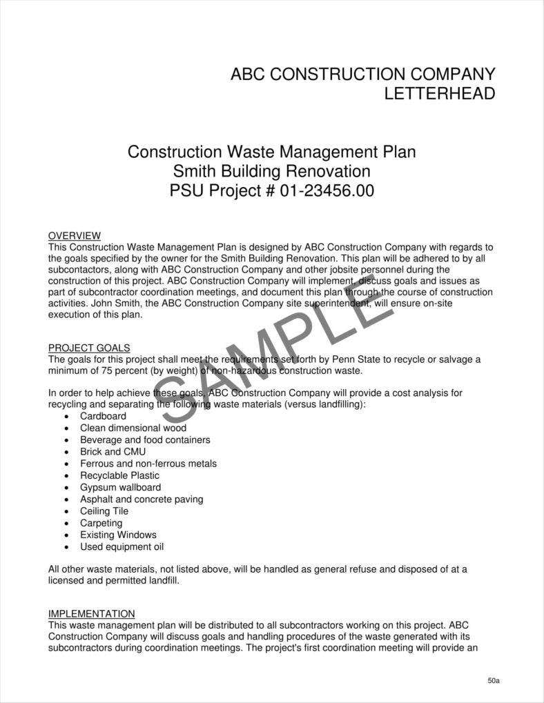 9 contractor letterhead templates free premium templates for Waste management plans template