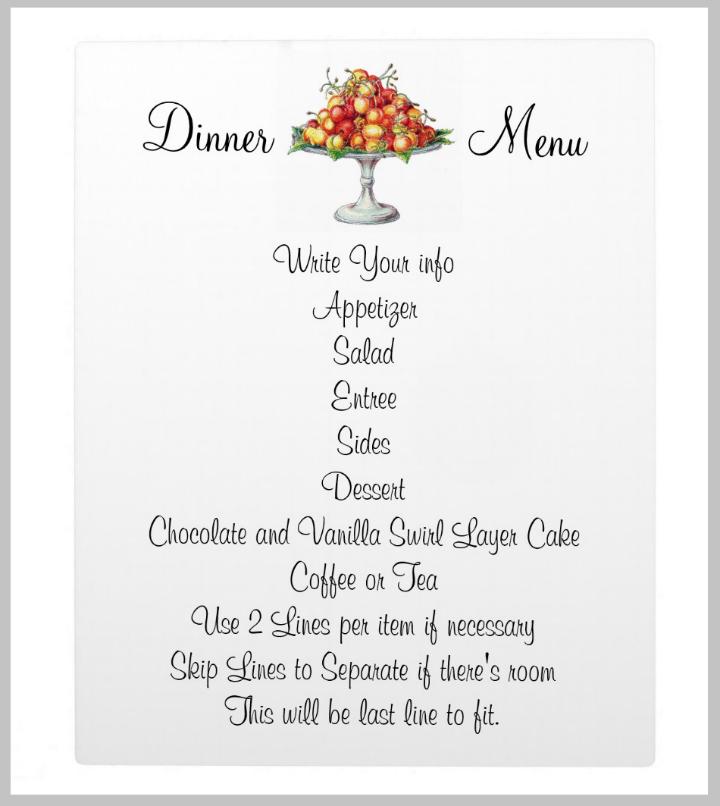 dinner menu format