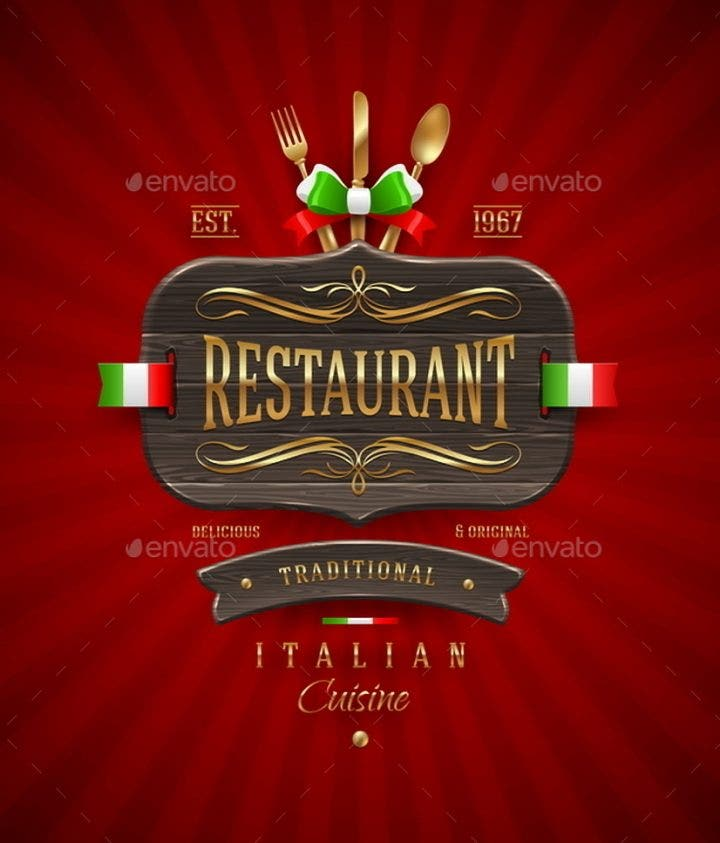decorative vintage wooden sign of italian restaurant with golden decor and lettering 590