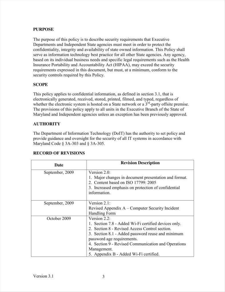 Security policy document template gallery template for Information system security policy template