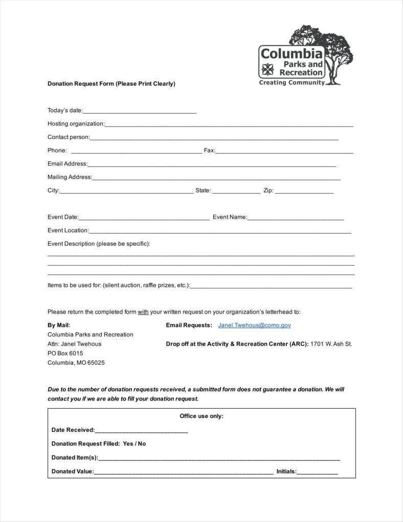 Parks And Recreation Donation Request Form Template