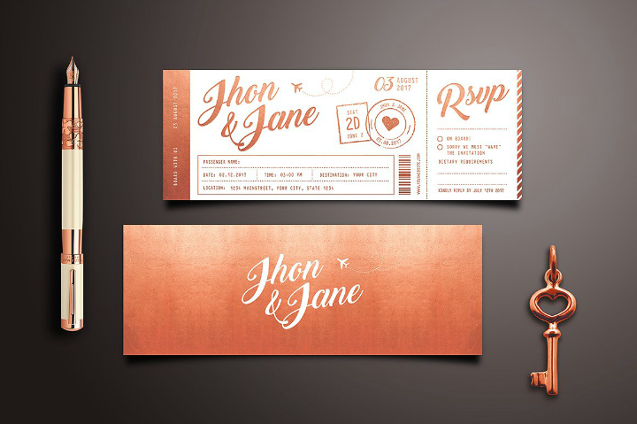 elegant vintage wedding invitation ticket template