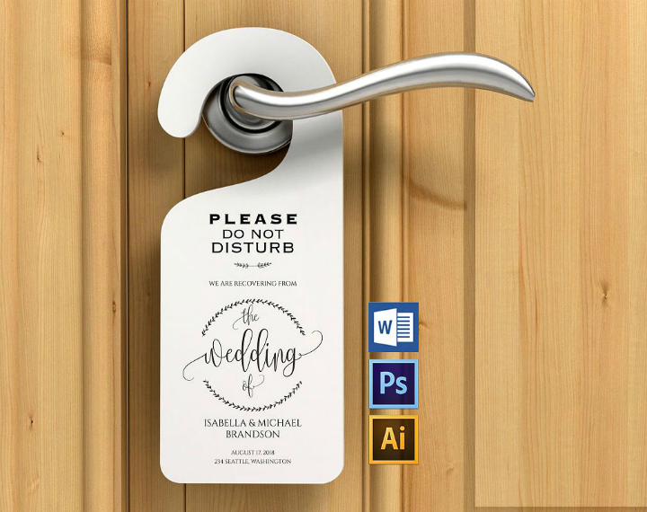Relatively 14+ Wedding Door Hanger Templates - Editable PSD, AI Format  BH69
